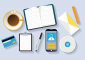 meeting coffee break with digital tablet, book, phone