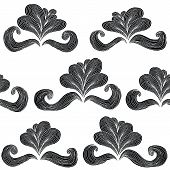 Baroque Flower Seamless Pattern In Black And White