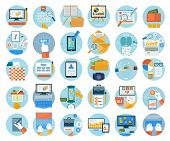 picture of e-business  - Business office and marketing items icons - JPG