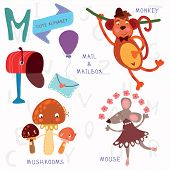 Very Cute Alphabet.m Letter.monkey, Mushrooms, Mail, Mailbox, Mouse.