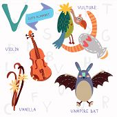 Very Cute Alphabet.v Letter. Vulture,vampire Bat,violin,vanilla.