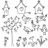 picture of nesting box  - set of cute cartoon birds - JPG