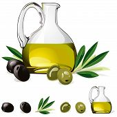 Carafe With Olive Oil, Green And Black Olive