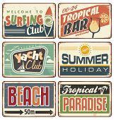 stock photo of old boat  - Vector set of promotional metal signs - JPG
