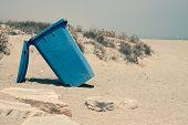 Wheelie Bin On Sandy Coast
