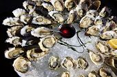 stock photo of souse  - Opened oysters on ice with red souse