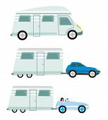 image of trailer park  - camper and trailer set isolated  - JPG