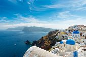 the famous blue and white city Oia,Santorini
