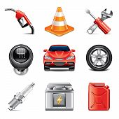 Car Service Icons Photo-realistic Vector Set