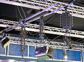 Television Studio Light Equipment, Spotlight Truss, Cables,  Microphones