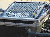 Closeup Of The Sound Mixer Control Console