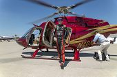 Indianapolis, IN - May 25, 2014:  NASCAR driver, Kurt Busch, lands at Indianapolis Airport and climb