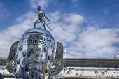 indianapolis, IN - May 17, 2014:  The Borg-Warner Trophy sits on pit road before qualifying starts f
