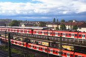 Commuter Rail Trains Frankfurt Germany