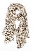 a scarf is silk beige with strakes strung on a knot