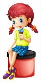 Illustration of a young girl sitting with an icecream on a white background