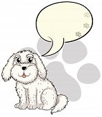Illustration of a cute puppy with an empty callout on a white background