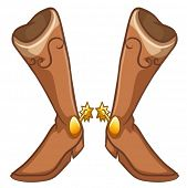 Illustration of a pair of boots with a gold design on a white background