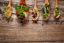 picture of food plant  - herbs and spice on wooden table - JPG