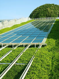 image of environmentally friendly  - Solar Panels with Green environment - JPG