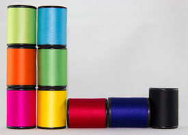 pic of rayon  - set of color threads on a white background - JPG