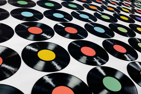 stock photo of lps  - Colorful collection of vinyl records - JPG
