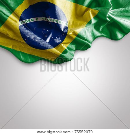 Waving flag of Brazil, South America poster