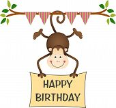 Hanging Hanging monkey holding a happy birthday sign