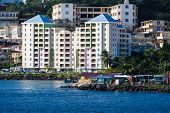 Large Pastel Colored Hotel On Coast Of Martinique