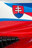 The colors and crest of the national flag of Slovenia painted on the body work of a race car