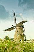 Ancient windmill in Kinderdijk