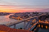 Portugal Porto Luis I Bridge on a sunset the top view