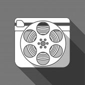 Flat long shadow cinema icon