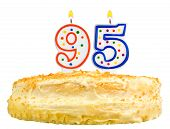 Birthday Cake Candles Number Ninety Five Isolated