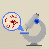 retro flat style illustration of a microscope with detailed view on ebola virus, eps10 vector