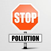detailed illustration of a red stop Pollution sign, eps10 vector