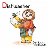 Alphabet professions Owl Letter D - Dishwasher Vector Watercolor.