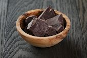 Dark Chocolate Chunks In Wooden Bowl