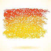 Orange pastel crayon spot isolated on white background