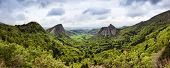 Panoramic view of volcanic landscape at the Auvergne region, France