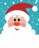 Vector Christmas Illustration Of Santa With Big Beard