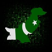 foto of pakistani flag  - Pakistan map flag on hex code illustration - JPG