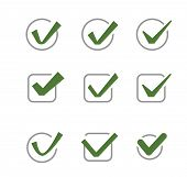 stock photo of confirmation  - vector green illustration of confirm icon on white - JPG