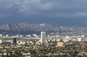 LOS ANGELES, CALIFORNIA - November 1, 2014:  Storm clouds over Hollywood and the city of Los Angeles.