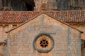 foto of templar  - detail of templar romanesque chapel of San Bartolome in the Lobos river canyon Spain - JPG
