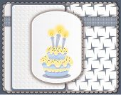 Birthday Card With Cake And Three Candles