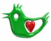 Green bird and red heart