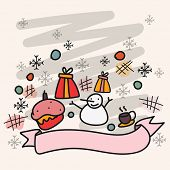 Christmas Day celebration with snowman; snowflakes; gift; box and burger on stylish background.