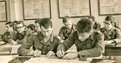 SOCZEWKA, POLAND, CIRCA SIXTIES: Young soldiers learn during a military training