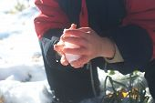 Boy Hands Sculping With Snow